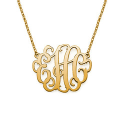 Large Monogram Necklace in 18k Gold Plating product photo