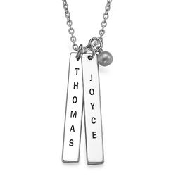 Engraved Vertical Bar Necklace in Sterling Silver product photo