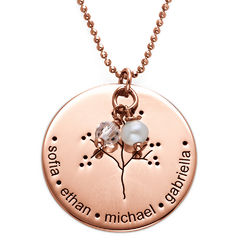 Rose Gold Plating Sterling Silver Family Tree Necklace product photo