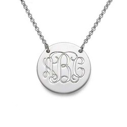 Silver Monogram Disc Necklace product photo