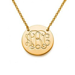 18k Gold Plated Monogram Disc Necklace product photo