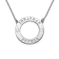 Silver Personalized Karma Necklace with Birthstones product photo