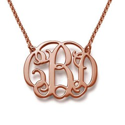 Rose Gold Plated Celebrity Monogram Pendant product photo