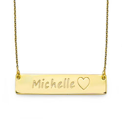 Gold Plated Bar Necklace with Icons product photo