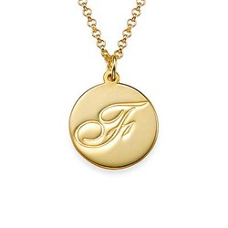 Script Initial Pendant Necklace in 18k Gold Plating product photo