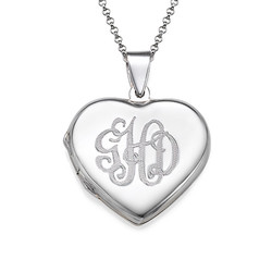 Monogrammed Heart Locket Necklace product photo