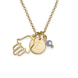 Initial Necklace with Hamsa Charm product photo