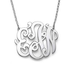 Swirly Monogrammed Pendant in Sterling Silver product photo