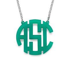 Colorful Acrylic Block Monogram Necklace product photo
