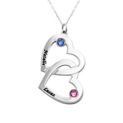 10k White Gold Heart in Heart Necklace with Birthstones product photo
