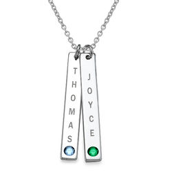 Vertical Sterling Silver Bar Necklace with Birthstone Crystal product photo