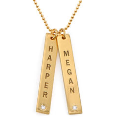 Gold Plated Vertical Bar Necklace with Diamond product photo