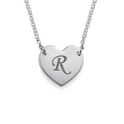 Initial Heart Necklace with Print Font product photo
