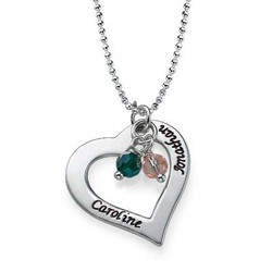 Engraved Necklace with Hollow Heart product photo