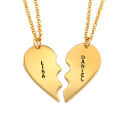 Broken Heart Necklace for Couples in Gold Plated product photo