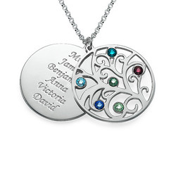 Filigree Family Tree Birthstone Necklace product photo