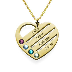 Birthstone Heart Necklace with Engraved Names - 18k Gold Vermeil product photo