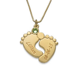 Personalized Baby Feet Necklace with Gold Plating product photo