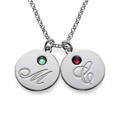 Multiple Initial Pendant Necklace with Birthstones product photo