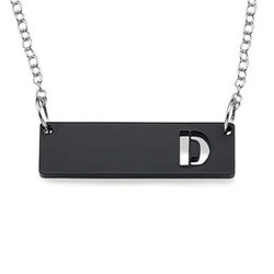 Acrylic Horizontal Bar Necklace with Initial product photo