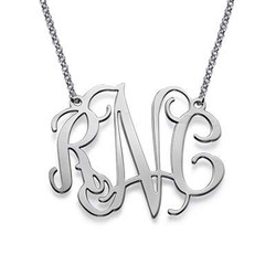 XXL Celebrity Monogram Necklace in Silver product photo