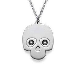 Silver Skull Necklace with Crystal Stones product photo