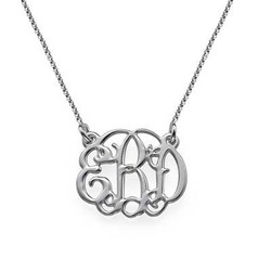 Small Celebrity Monogram Necklace in Sterling Silver product photo