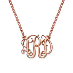 Small Celebrity Monogram Necklace in Rose Gold Plating product photo