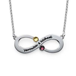 Couple's Infinity Necklace with Birthstones product photo