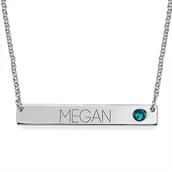Silver Bar Necklace with Birthstone product photo