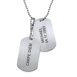 Engraved Dog Tags Necklace in Stainless Steel product photo