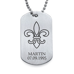 Fleur De Lis Dog Tag Necklace with Engraving - Stainless Steel product photo