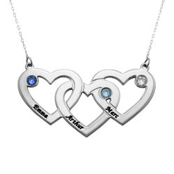 Intertwined Hearts Necklace with Birthstones in 10k White Gold product photo