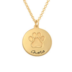 Personalized Paw Print Necklace in Gold Plating product photo