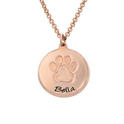 Personalized Paw Print Necklace in Rose Gold Plating product photo
