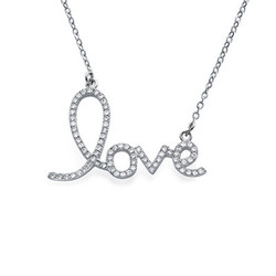 Cubic Zirconia LOVE Pendant Necklace product photo