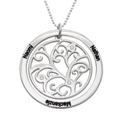 Family Tree Birthstone Necklace Sterling Silver with Diamonds product photo