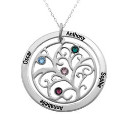 Family Tree Birthstone Necklace in 10k White Gold product photo