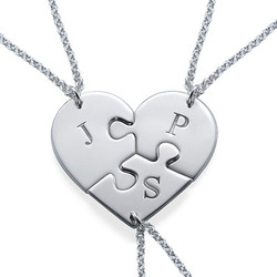 Puzzle Piece Necklace for Three with Initial product photo