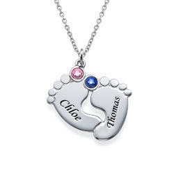 Personalized Baby Feet Necklace with Birthstones product photo