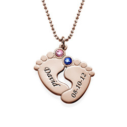 Personalized Baby Feet Necklace with Birthstones - Rose Gold Plated product photo