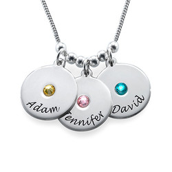 Mother's Disc and Birthstone Necklace in Sterling Silver product photo