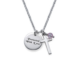 Sterling Silver Baptism Necklace with Engraved Disc product photo