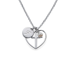 Cross Baptism Necklace with Initial Disc product photo