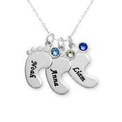 Baby Feet Necklace In 10K White Gold product photo