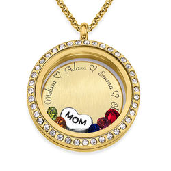 """Engraved Floating Charms Locket - """"For Mom or Grandma"""" with Gold product photo"""