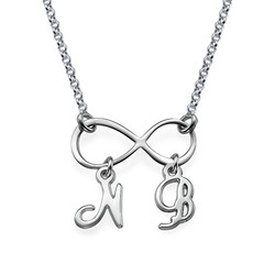 Sterling Silver Infinity Necklace with Initials product photo
