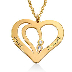 Engraved Couples Necklace in 18k Gold Vermeil with Diamond product photo
