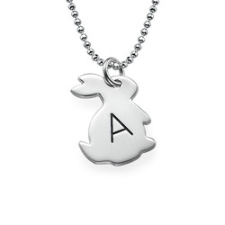 Tiny Rabbit Necklace with Initial in Silver product photo