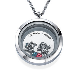 Floating Locket for Mom with Children Charms product photo